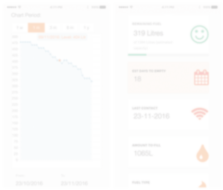 screenshots of the OilPal oil Monitoring app